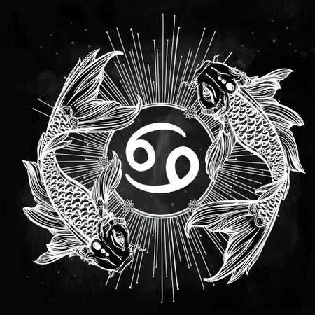 koi fish art: Hand drawn romantic beautiful line art of zodiac Pisces. Vector illustration isolated. Ethnic design, mystic horoscope symbol for your use. Ideal for tattoo art, coloring books. Sea spirit.