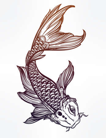koi carp: Hand drawn romantic beautiful line art of fish Koi carp - symbol or harmony and wisdom. Vector illustration isolated. Spiritual art. Ideal for tattoo art, coloring books.