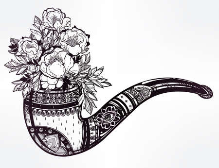 tabacco: Hand drawn ornate elegant tobacco pipe in vintage style with beautiful floral bouquet coming out. Boho, hipster, love, spirituality, romance, tattoo and print art. Isolated vector illustration