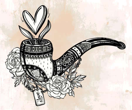 rose tattoo: Tobacco pipe in vintage style with rose bouquet and heart shaped smoke coming out. Boho, love, spirituality, romance, tattoo and print art . St. Valentines day concept. Isolated vector illustration.