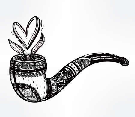 романтика: Табак трубы в стиле винтаж withheart форме дыма выходит. Boho, любовь, духовность, романтика, тату и постер. Святого Валентина день концепция. Изолированные векторные иллюстрации. Иллюстрация