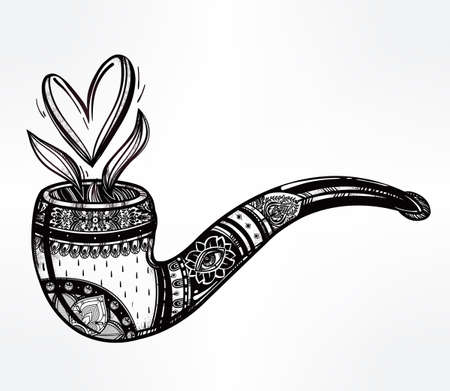 romance: Tobacco pipe in vintage style withheart shaped smoke coming out. Boho, love, spirituality, romance, tattoo and print art . St. Valentines day concept. Isolated vector illustration.