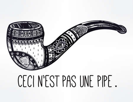 tabacco: Smoking pipe in vintage style. Quote in French, after Rene Magritte, meaning of text  - This is not a pipe. Boho, religion, spirituality, romance, tattoo and print art. Isolated vector illustration. Illustration