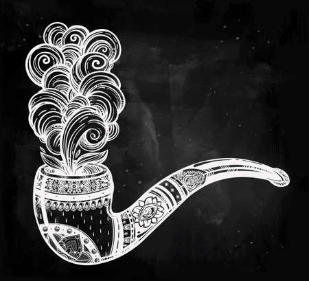 tabacco: Hand drawn ornate tobacco pipe in vintage style with elegant smoke coming out. Boho, hipster, religion, spirituality, romance, tattoo and print art. Isolated vector illustration.