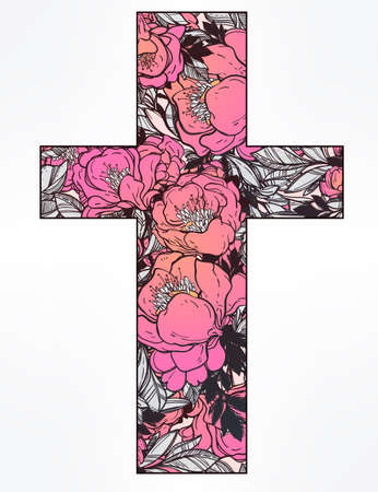 redemption: Cross with wild flowers on white background.