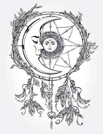 romance: Disegno a mano romantico bel disegno di un sogno catcher ornato di piume e foglie con sole e la luna al suo interno. Design etnico, simbolo tribale mistico per l'uso. Vettoriali