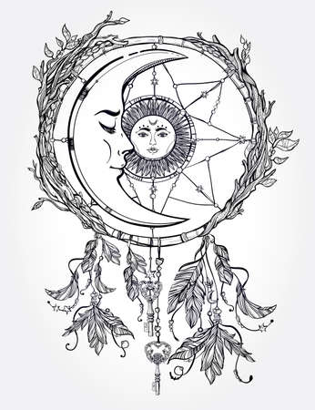 romance: Hand drawn romantic beautiful drawing of a dream catcher adorned with feathers and leaves with sun and moon inside. Ethnic design, mystic tribal symbol for your use.