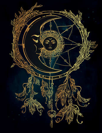 for a dream: Hand drawn romantic beautiful drawing of a dream catcher adorned with feathers and leaves with sun and moon inside. Ethnic design, mystic tribal symbol for your use.