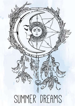 a feather: Hand drawn romantic beautiful drawing of a dream catcher adorned with feathers and leaves with sun and moon inside.Ethnic design, mystic tribal symbol for your use.