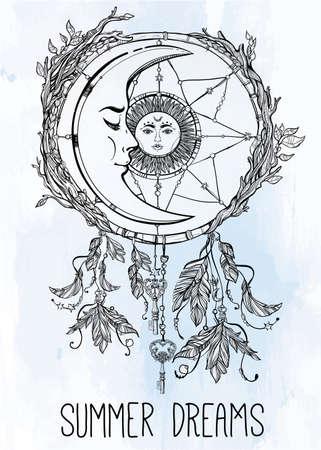 mond: Hand gezeichnet romantische schöne Zeichnung eines Traumfänger mit Federn geschmückt und Blätter mit Sonne und Mond inside.Ethnic Design, mystische tribal symbol für Ihren Einsatz.
