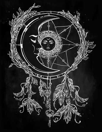 Hand drawn romantic beautiful drawing of a dream catcher adorned with feathers and leaves with sun and moon inside.