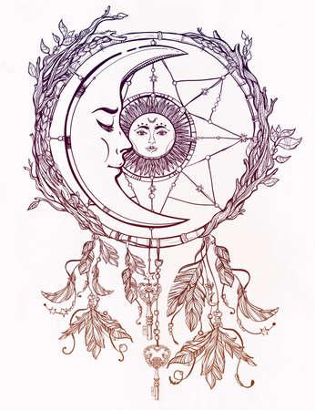 sol y luna: Dibujado a mano romántico hermoso dibujo de un cazador de sueños adornado con plumas y se va con el sol y la luna en el interior.