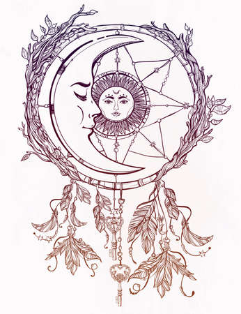 adorned: Hand drawn romantic beautiful drawing of a dream catcher adorned with feathers and leaves with sun and moon inside. Illustration