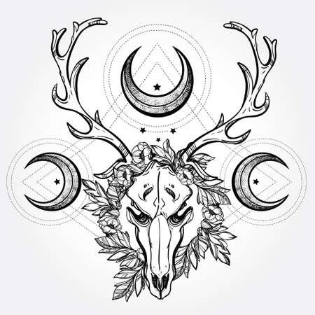 mond: Schöne Schädel Tattoo-Kunst. Weinlese-Rotwild Scull heidnischen Stil. Antlers mit Niederlassungen und verzierten Monde mit Sternen. Hand gezeichnete Umriss Arbeit.