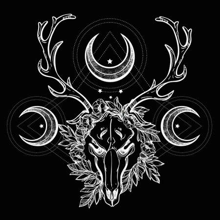 moons: Beautiful scull tattoo art. Vintage deer scull pagan style. Antlers with branches and ornate moons with  stars. Hand drawn outline work.