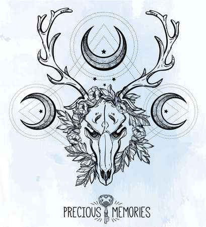 scull: Beautiful scull tattoo art. Vintage deer scull pagan style. Antlers with branches and ornate moons with  stars. Hand drawn outline work.