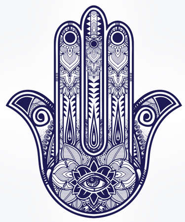 an amulet: Elegant ornate hand drawn Hamsa Hand of Fatima. Good luck amulet in Indian, Arabic  Jewish cultures.  Illustration