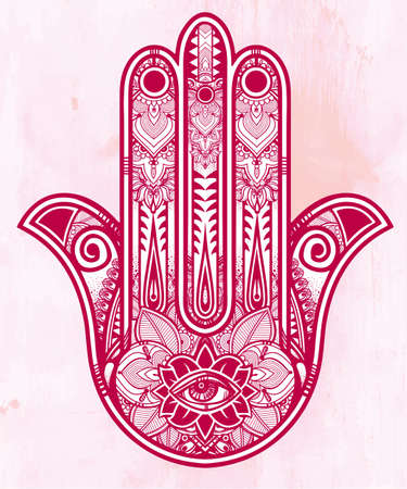 Elegant ornate hand drawn Hamsa Hand of Fatima. Good luck amulet in Indian, Arabic  Jewish cultures.  Illustration