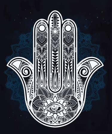 cabala: Elegant ornate hand drawn Hamsa Hand of Fatima. Good luck amulet in Indian, Arabic  Jewish cultures.