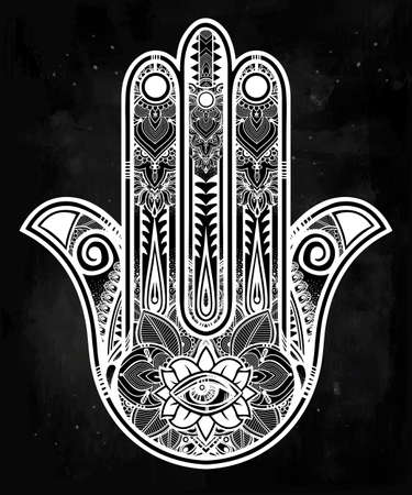 Elegant ornate hand drawn Hamsa Hand of Fatima. Good luck amulet in Indian, Arabic  Jewish cultures..