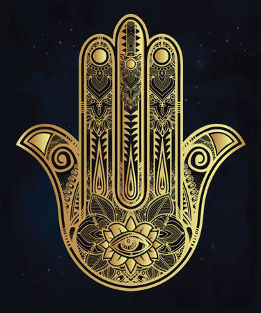spiritual background: Elegant ornate hand drawn Hamsa Hand of Fatima. Good luck amulet in Indian, Arabic  Jewish cultures. Illustration