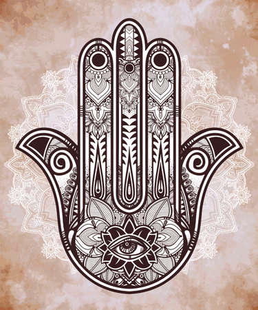 cabala: Elegant ornate hand drawn Hamsa Hand of Fatima. Good luck amulet in Indian, Arabic  Jewish cultures. . Illustration