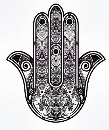 spiritual: Elegant ornate hand drawn Hamsa Hand of Fatima. Good luck amulet in Indian, Arabic  Jewish cultures. Illustration
