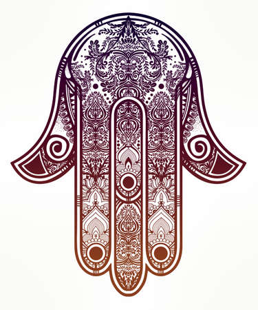 indian tattoo: Elegant ornate hand drawn Hamsa Hand of Fatima. Good luck amulet in Indian, Arabic  Jewish cultures. Illustration