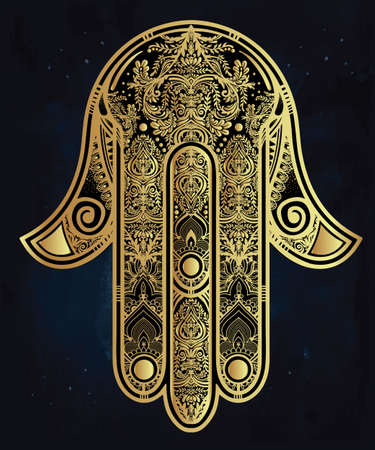 jewish background: Elegant ornate hand drawn Hamsa Hand of Fatima. Good luck amulet in Indian, Arabic  Jewish cultures. Illustration