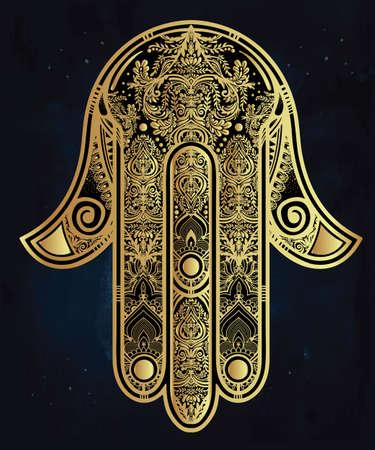 talismán: Elegante mano adornado dibujado Hamsa mano de Fátima. Bueno amuleto suerte en las culturas judías indios, árabes.
