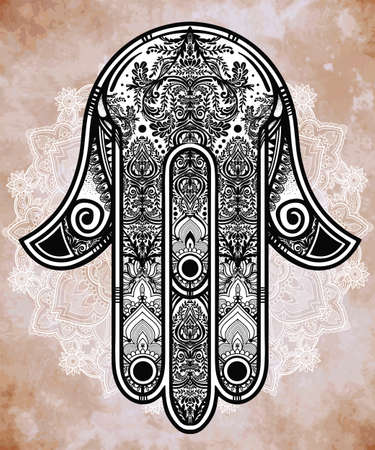 cabala: Elegant ornate hand drawn Hamsa Hand of Fatima. Good luck amulet in Indian, Arabic  Jewish cultures.  Illustration