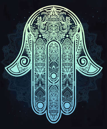 indian art: Elegant ornate hand drawn Hamsa Hand of Fatima. Good luck amulet in Indian, Arabic  Jewish cultures.  Illustration