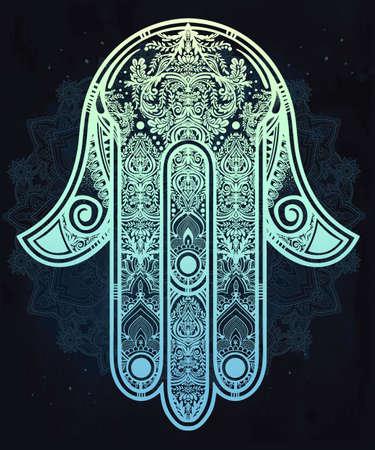 femme dessin: Main orn�e �l�gant dessin� Hamsa Main de Fatima. Bonne chance dans amulette indiennes, les cultures juives arabes.