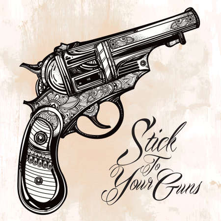 bullets: Hand drawn Retro Gun Revolvers Pistol, bullets in vintage style. Ornate beautifully detailed tattoo design element.