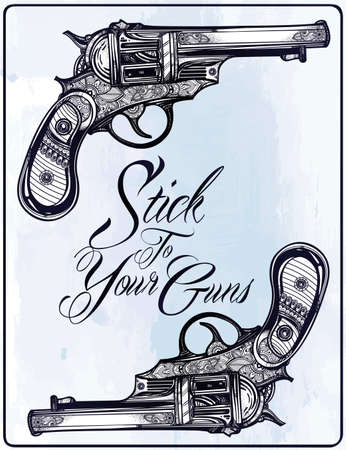 gun barrel: Hand drawn Retro Gun Revolvers Pistol, bullets in vintage style. Ornate beautifully detailed tattoo design element. illustration isolated. Cards, t-shirts, scrap-booking, print concept art. Illustration