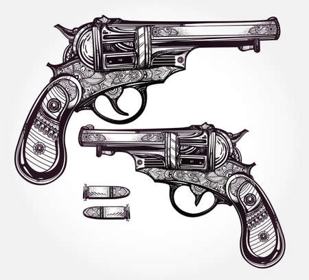 hand gun: Hand drawn Retro Gun Revolvers Pistol, bullets in vintage style. Ornate beautifully detailed tattoo design element. illustration isolated. Cards, t-shirts, scrap-booking, print concept art. Illustration