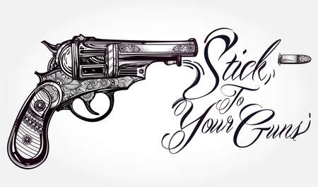 classic tattoo: Hand drawn Retro Gun Revolvers Pistol, bullets in vintage style. Ornate beautifully detailed tattoo design element. illustration isolated. Cards, t-shirts, scrap-booking, print concept art. Illustration