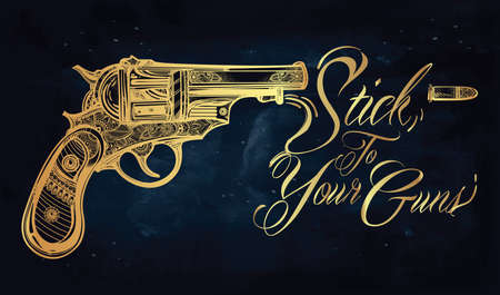 guns: Hand drawn Retro Gun Revolvers Pistol, bullets in vintage style. Ornate beautifully detailed tattoo design element. illustration isolated. Cards, t-shirts, scrap-booking, print concept art. Illustration
