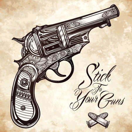 old west: Hand drawn Retro Gun Revolvers Pistol, bullets in vintage style. Ornate beautifully detailed tattoo design element. illustration isolated. Cards, t-shirts, scrap-booking, print concept art. Illustration