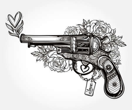 tattoo art: Hand drawn Retro Gun Revolver Pistol with hearts and flowers in vintage style. Ornate romantic tattoo design element. illustration isolated. Cards, t-shirts, scrap-booking, print concept art.