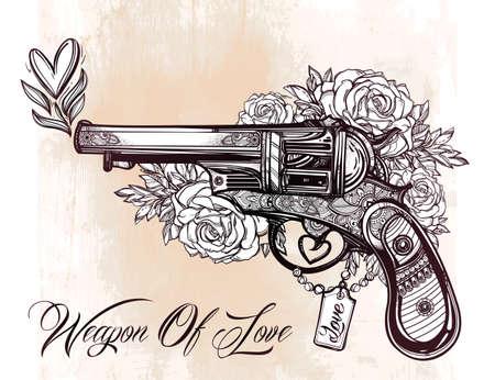 pistolas: Dibujado a mano retro pistola Revolver pistola con corazones y flores en el estilo vintage. Elemento de diseño del tatuaje romántico adornado. aislado ilustración. Tarjetas, camisetas, desecho-reservación, el concepto de impresión de arte. Vectores