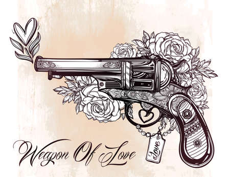 hand gun: Hand drawn Retro Gun Revolver Pistol with hearts and flowers in vintage style. Ornate romantic tattoo design element.   illustration isolated. Cards, t-shirts, scrap-booking, print concept art.