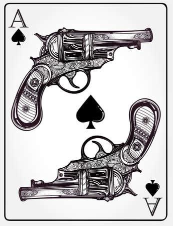 as de picas: Mano retro dibujado Pistola Pistolas Ace espadas dise�o en estilo retro lineal. Elemento de dise�o vintage adornado tatuaje detallada. ilustraci�n isolated.Sign de suerte, el riesgo, la aventura, los ganadores juegan fortuna. Vectores