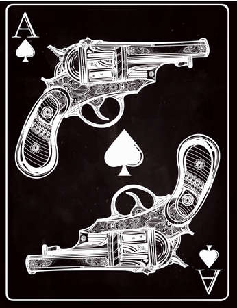 ace of spades: Hand drawn retro Gun Pistols Ace spades design in linear retro style. Vintage ornate detailed tattoo design element. illustration isolated.Sign of luck, risk, adventure, winners gamble fortune.