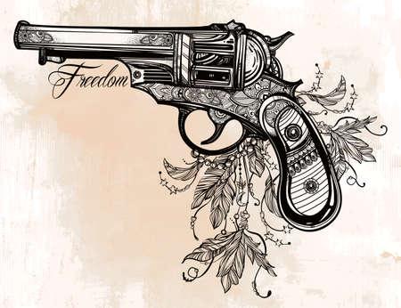 guerrero: Dibujado a mano retro pistola Revolver Pistola con plumas en el estilo vintage. Símbolo de la libertad. Elemento de diseño del tatuaje adornada. aislado ilustración. Tarjetas, camisetas, desecho-reservación, el concepto de impresión de arte. Vectores