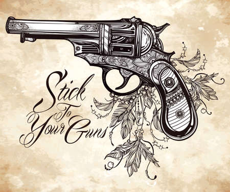 pistol: Hand drawn Retro Gun Revolver Pistol with feathers in vintage style. Freedom symbol. Ornate tattoo design element. illustration isolated. Cards, t-shirts, scrap-booking, print concept art.