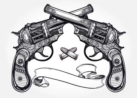 pirate banner: Hand drawn retro Gun Pistols crossed, bullets in vintage style with text space. Ornate detailed tattoo design element. illustration isolated. Cards, t-shirts, scrap-booking, print concept art.