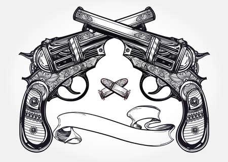 pistola: Mano retro dibujado Pistola Pistolas cruzadas, las balas en el estilo vintage con espacio de texto. Adornado elemento de diseño del tatuaje detallada. aislado ilustración. Tarjetas, camisetas, desecho-reservación, el concepto de impresión de arte.