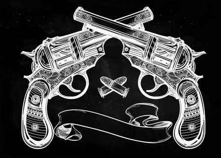 crossed: Hand drawn retro Gun Pistols crossed, bullets in vintage style with text space. Ornate detailed tattoo design element.  illustration isolated. Cards, t-shirts, scrap-booking, print concept art.