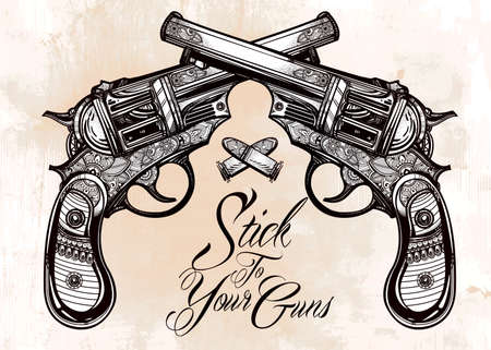 classic tattoo: Hand drawn retro Gun Pistols crossed, bullets in vintage style with a slogan. Ornate detailed tattoo design element. illustration isolated. Cards, t-shirts, scrap-booking, print concept art.